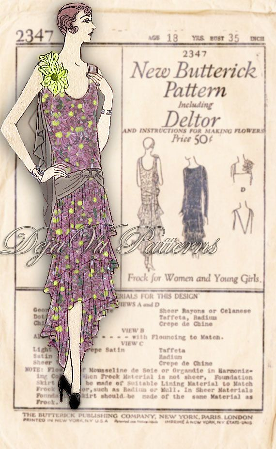 Butterick 2347 Vintage 1920s Flapper Tiered Evening Gown Sewing Pattern by DejaVuPatterns, $249.00