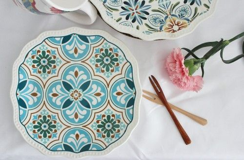 Blue Peranakan tile inspired scallop rimmed plate