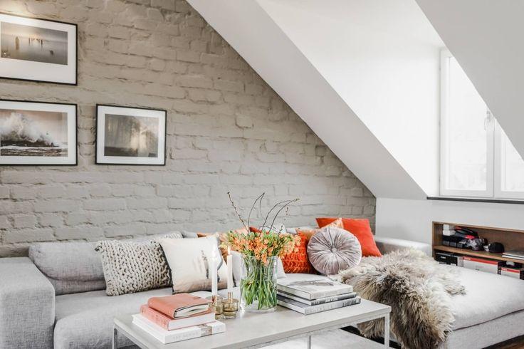 Мансардная шведская квартира 81 кв.м. с кирпичной стеной и камином - Сундук идей для вашего дома - интерьеры, дома, дизайнерские вещи для дома