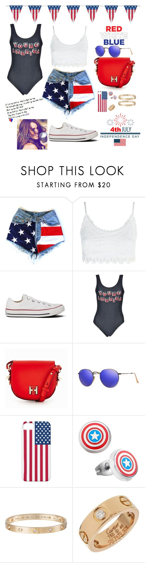 """""""It's A Party In The USA"""" by valenlss ❤ liked on Polyvore featuring Topshop, Converse, Tommy Hilfiger, Ray-Ban, Marvel, Cartier and Cyrus"""