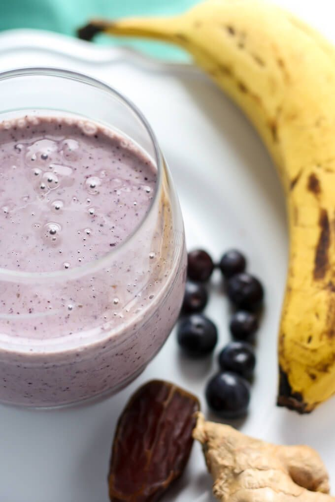 Ginger Blueberry Banana Date Smoothie—a healthy snack or breakfast you can take on-the-go! Made with fresh fruit and Greek yogurt.