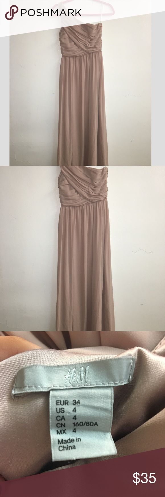 H&M Bridesmaid Dress Classy pinkish/champage dress to wear to prom, as a bridesmaid, or any party at all! Small cut and has some stains on the bottom that can be cut off because its really long. Was dry-cleaned right after it was worn. H&M Dresses Maxi