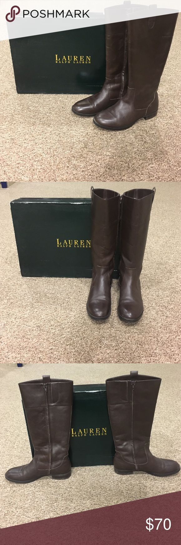 Ralph Lauren riding boots Perfect condition Ralph Lauren dark brown Leather riding boots! Great with any outfit! Lauren Ralph Lauren Shoes Heeled Boots