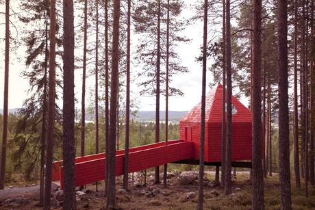 Sweden's TREE HOTEL -  The Blue Cone room (even though it's painted red?)