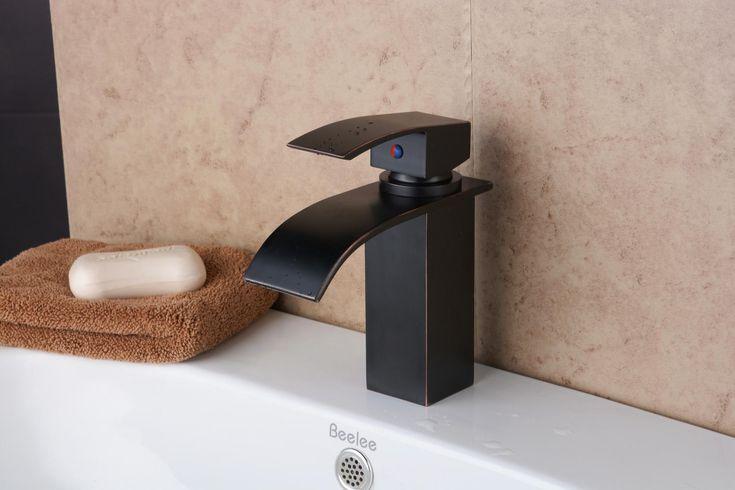 Griferia Baño Antiguo:Aceite-frotado bronce baño de cascada latón grifería de lavabo