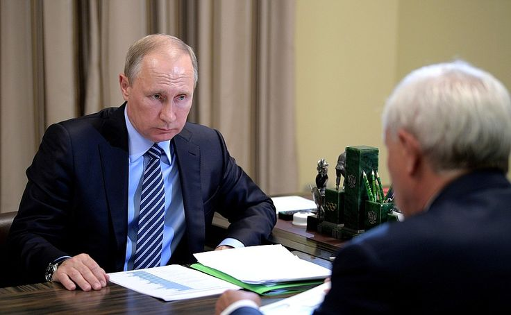 Vladimir Putin at the meeting with Governor of St. Petersburg Georgy Poltavchenko.