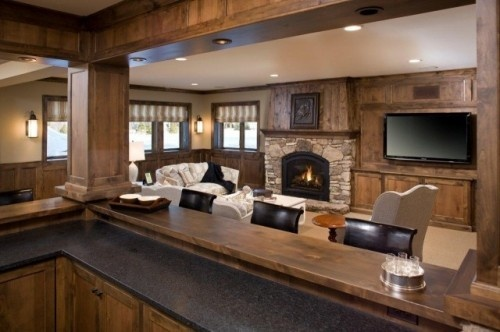 like the way the kitchen is enclosed with craftsman style columns and passthru bar all aroundFireplaces Design, Bar Design, S'Mores Bar, Living Room, Family Rooms, Traditional Families Room, Basements Bar, Corner Fireplaces, Home Bar