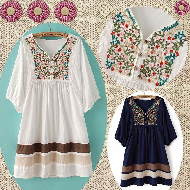 primavera flor mexicano blusa bordada vestido peixe cor patchwork vintage mulheres manga curta camisas top algodão bordado 22.35