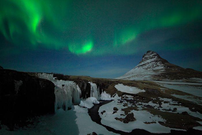 Polární záře, Kirkjufell, Grundarfjörður, Island