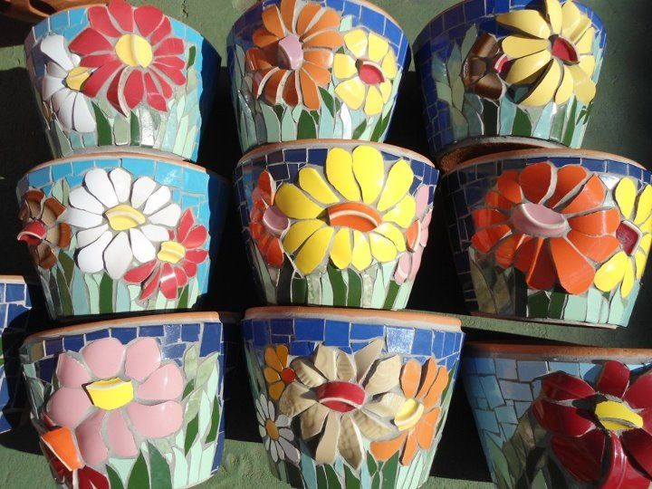 Mosaic flowers on planters pots