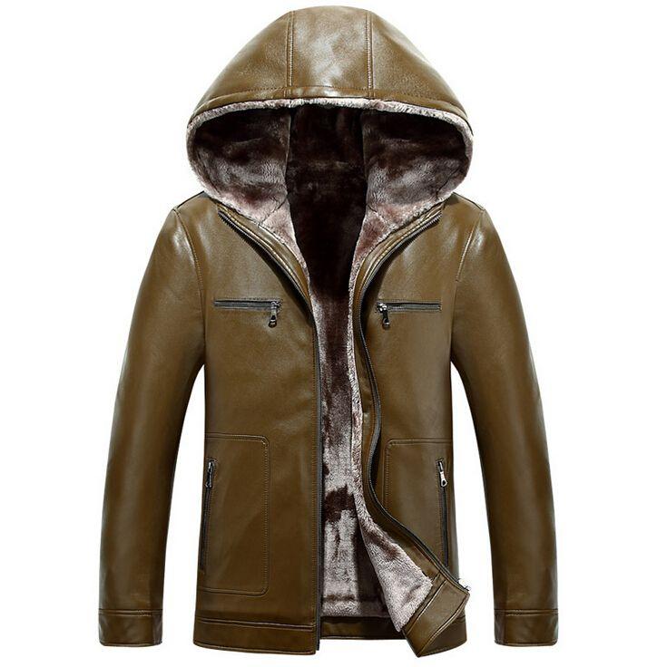 Овчины кожаные куртки и пиджаки мода с капюшоном кожаная куртка мужчины толстые зимняя куртка мужчины шуба мужские кожаные куртки