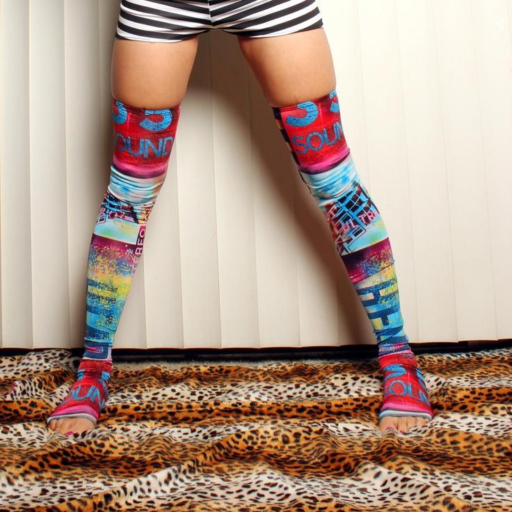 Tattoo Graffiti Leggings, Coorful long footless socks Tights, layer, thigh highs leg warmers, Crude Things Liquid Skin Collection. $45.00, via Etsy.