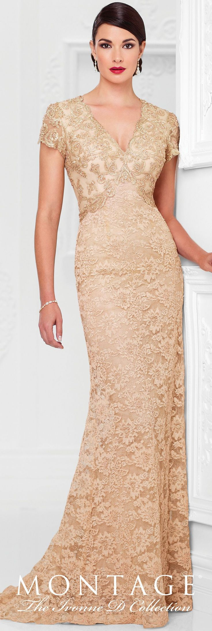 Ivonne D Exclusively for Mon Cheri - 117D72 - Lace A-line gown with hand-beaded illusion scalloped short sleeves, beaded V-neckline, beaded inverted empire waistline, keyhole back, slight sweep train.Sizes: 4 – 20Color: Gold