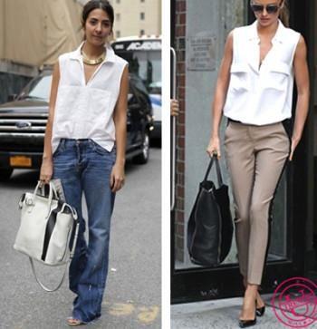 Бежевые брюки и белая блузка