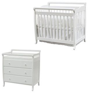 DaVinci Emily Mini 2-in-1 Convertible Wood Baby Crib Set With Changing Table in - transitional - changing tables - other metro - by Cymax