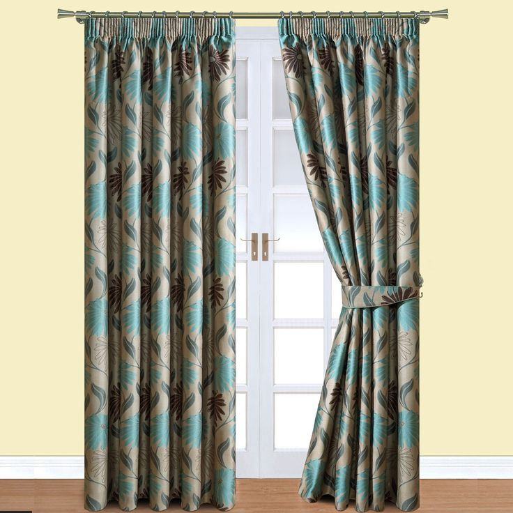 Floral Jacquard Lined Pencil Pleat Curtains   Teal