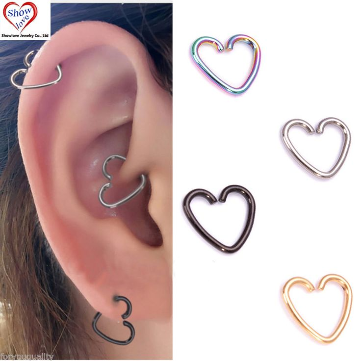 Showlove-4Pcs Surgical Steel Heart Ring Piercing Hoop Rings Helix Cartilage Tragus Daith Ear Studs Lip Nose Rings Piercing