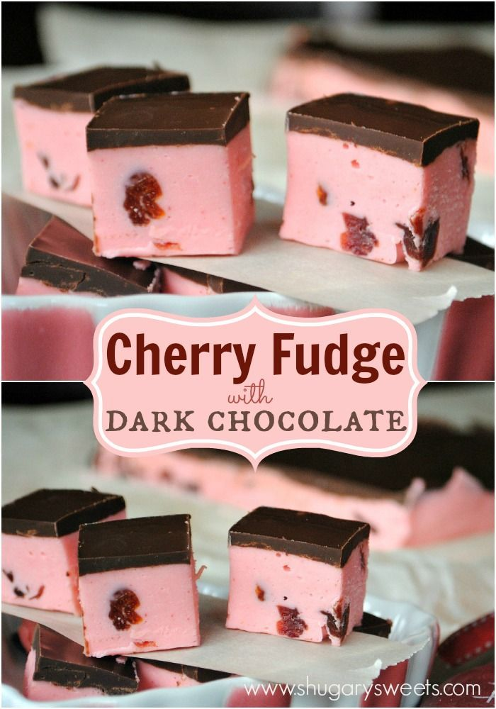 Soft Cherry Fudge recipe topped with a dark chocolate ganache!.