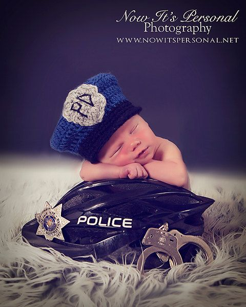 Crochet PATTERN Baby Police Man Hat Policeman Hat PDF 274 - Newborn to 12 Months - Permission To Sell Finished Items - Photography Prop. $3.99, via Etsy.
