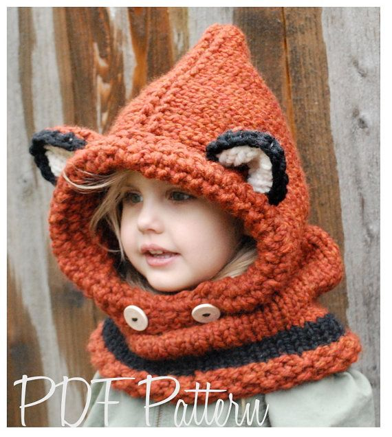 Knitting PATTERNThe Failynn Fox Cowl Toddler  by Thevelvetacorn. {love it!!!! if only I could knit!!!!}