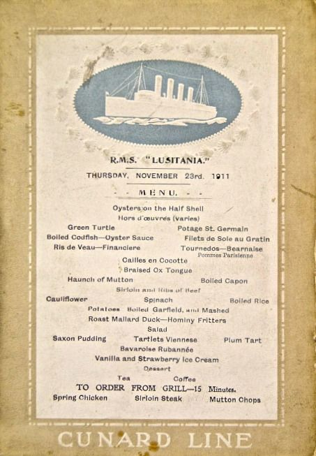 Traveling in Style: The Jaw-Dropping Menus of Lusitania�s First Class