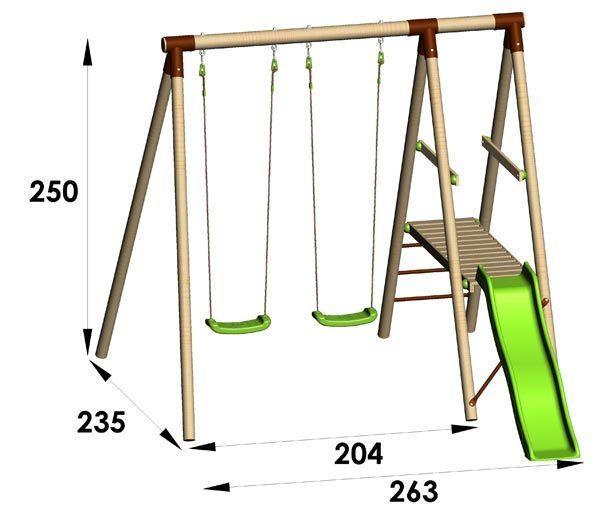 Portique en bois Trigano 2,50 m. + toboggan. 3 enfants.