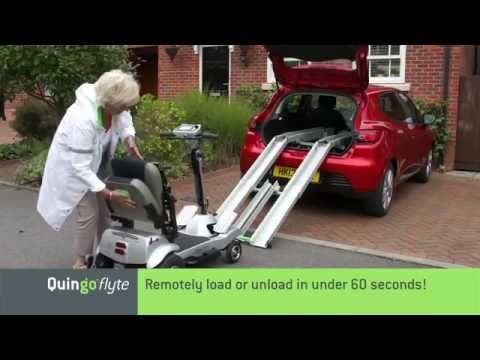 The self loading Quingo Flyte loads and unloads in under 60 seconds using a simple 2 button remote. Can be fitted in most hatchbacks and with the adaptor kit most SUVs