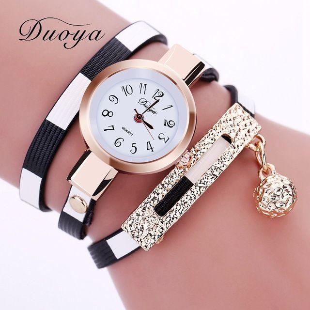 2017 duoya uhren frauen luxus gold frauen armband quarz armbanduhr damen kleid weibliche leder vintage-mode armbanduhr