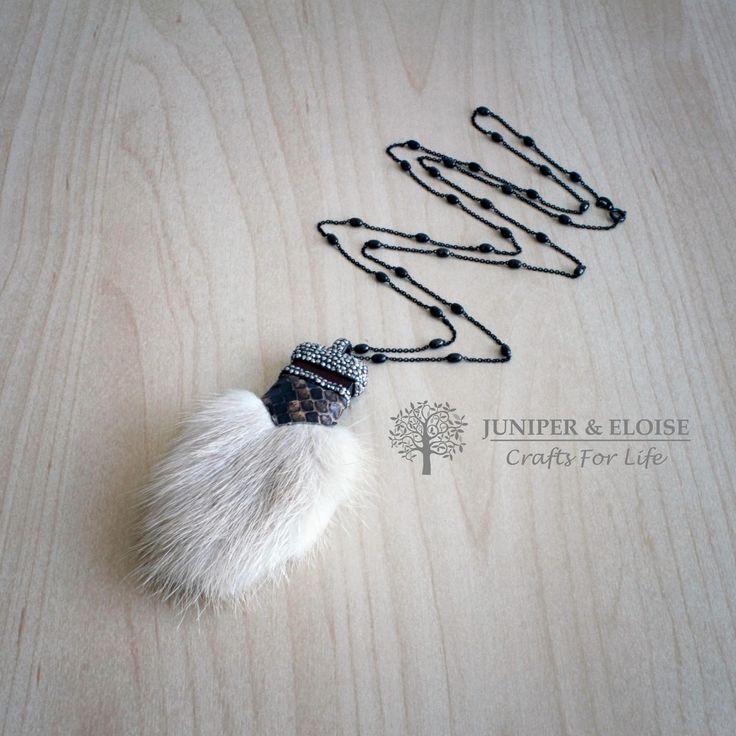 Womens Necklace, Luxury Fur necklace, Zircon Necklace, Light Beige Fur necklace, 925 Silver Black Tiffany Zircon Necklace,  Gift For Her by JuniperandEloise on Etsy