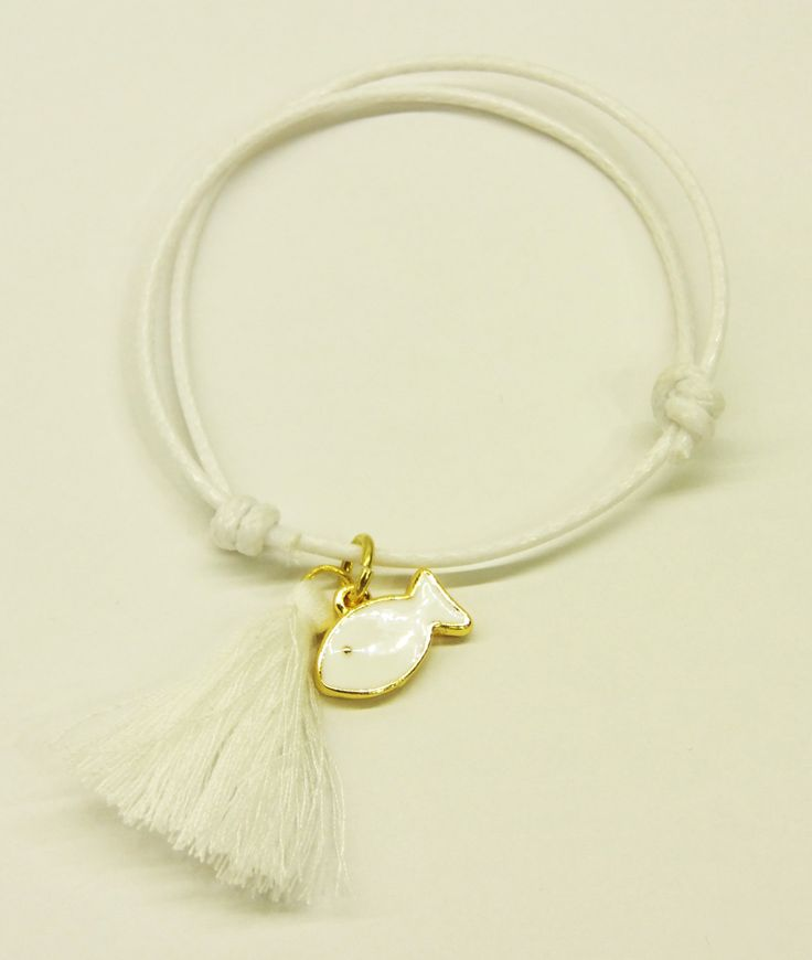 Handmade bracelet/white cord/white tassel/base metal fish charm/gold plated/24 carats/white enamel by CrownedCharm on Etsy