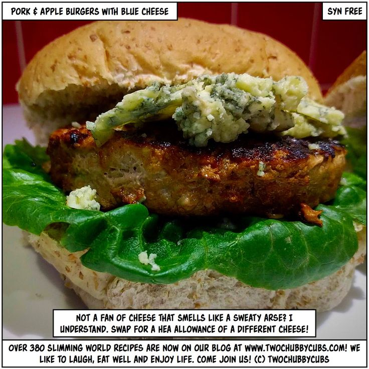 PLEASE LIKE AND SHARE! Well burger me, it's time for a delicious, syn-free meal of pork and apple burgers with blue cheese! Not a fan of blue cheese? Swap it out! Remember, at www.twochubbycubs.com we post a new Slimming World recipe nearly every day. Our aim is good food, low in syns and served with enough laughs to make this dieting business worthwhile. Please share our recipes far and wide! We've also got a facebook group at www.facebook.com/twochubbycubs - enjoy!