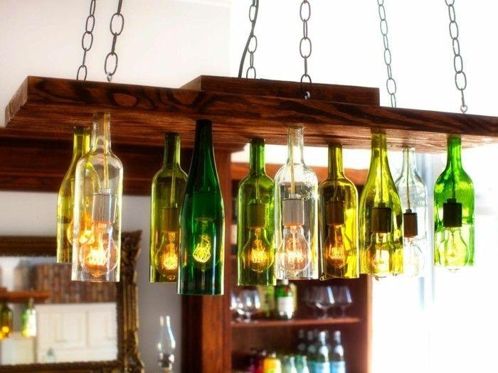 Ausgefallene Lampen Weinflaschen Benutzen Leuchter