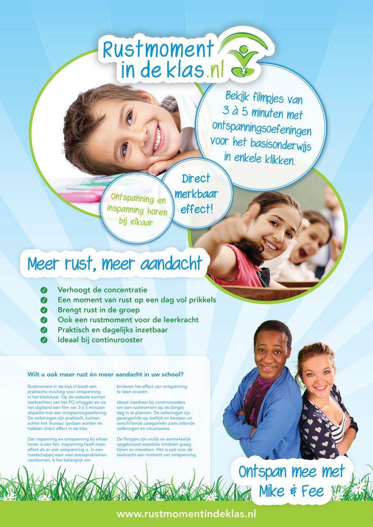 Flyer Rustmoment in de klas.nl - Ontspanning in het klaslokaal! Zeer praktisch inzetbaar. Meer rust, meer aandacht.