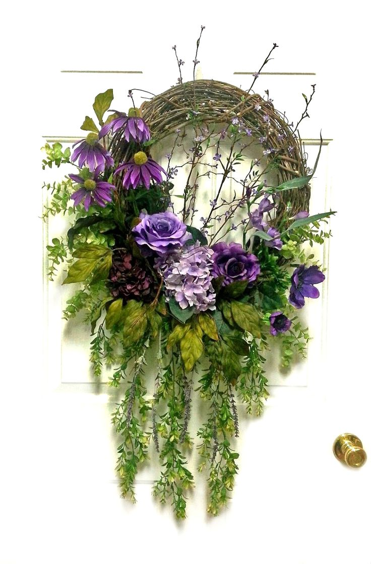 Cascading Purple Floral Wreath by Adorabella Wreaths at…
