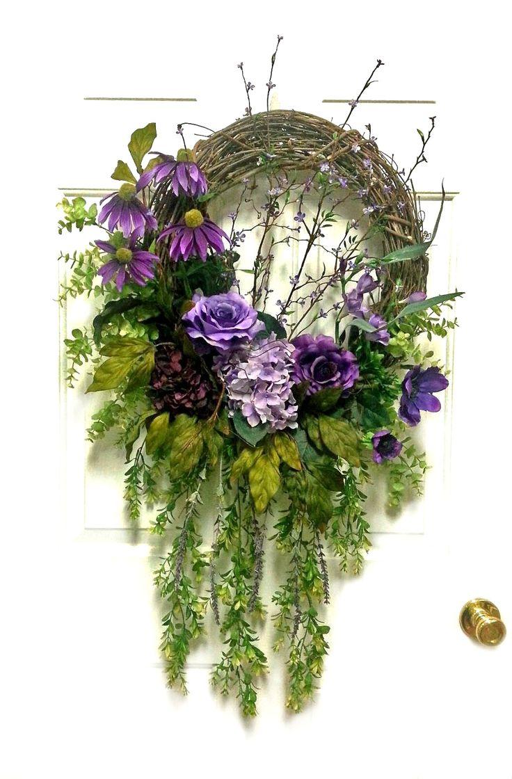 Cascading Purple Silk Floral Wreath, Spring Wreath, Springtime Wreath, Spring Floral Wreath, Spring Door Wreath, Wreath for Door, Front Door Wreath, Grapevine Wreath, by Adorabella Wreaths on Etsy!