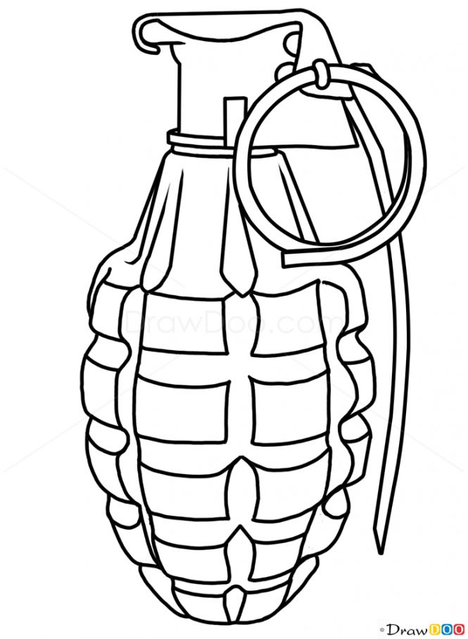 How to Draw Grenade, Guns and Pistols - How to Draw, Drawing Ideas, Draw Something, Drawing Tutorials portal