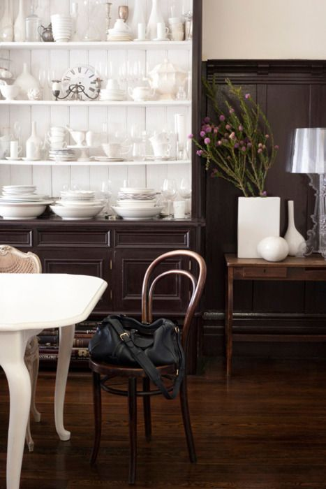Black white cabinet bentwood chairs white table dining for Bentwood kitchen cabinets