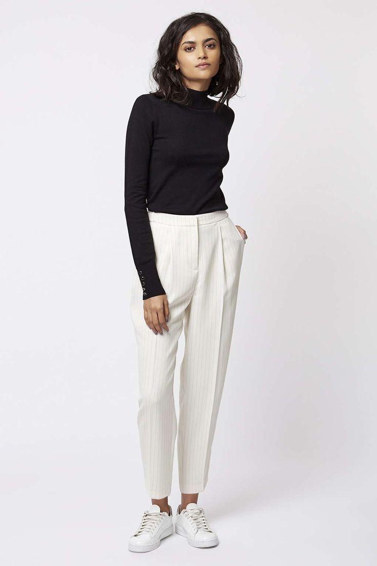Photo 6 of Pinstripe Print Peg Leg Trousers