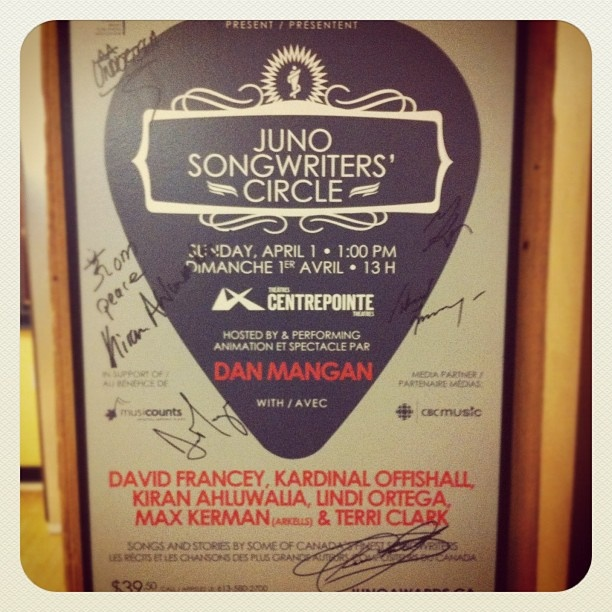 The 2012 JUNO Songwriters' Circle Poster!