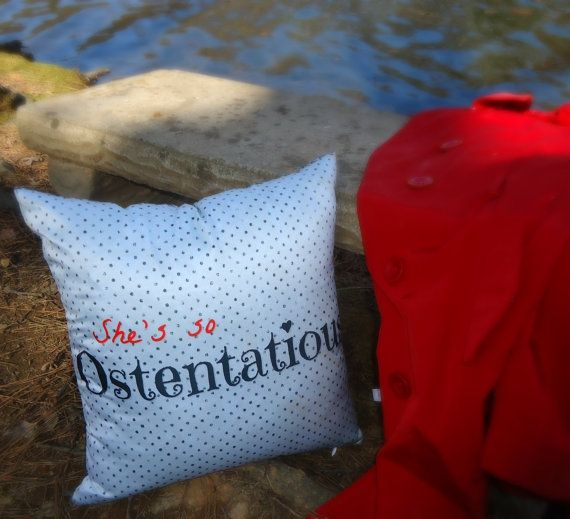 She's so Ostentatious reversible throw pillow w/polka by SheDecor, $14.99