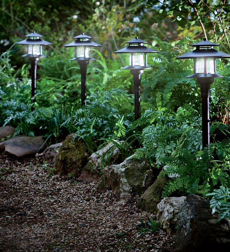 Solar Path Lights with Remote Solar Panel let you light shady spaces and wooded paths with ease.