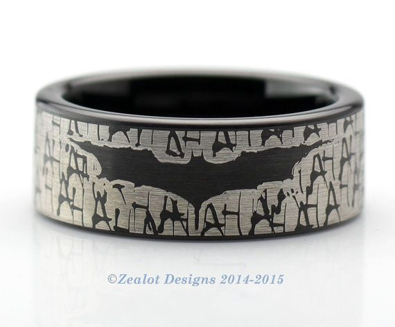 Batman Wrap Around Ring Tungsten Wedding Band Ring Mens Womens Pipe Cut Black Comic Geek Anniversary Engagement ALL Custom Sizes Available