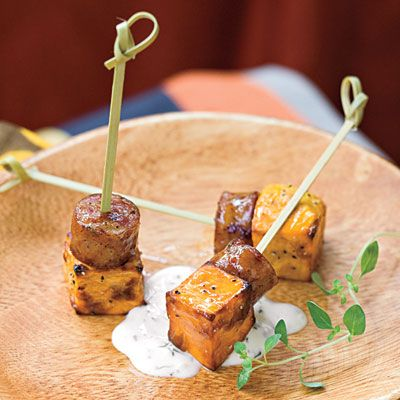 Sweet potato skewers with smoked sausage and lemon-garlic aoli.