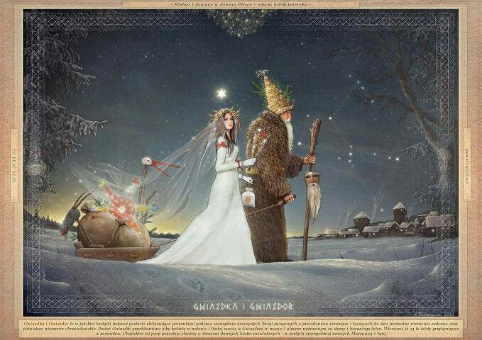 """""""Gwiazdka i Gwiazdor"""" autor: Kazimierz Perkowski, grafika z cyklu """"Bogowie i demony w dawnej Polsce"""".  http://forum.weneda.net/viewtopic.php?f=3&t=185&p=606 #Poland #Polska #Gwiazdka #Marzanna #Dzieciątko #Aniołek #Lelija #Śnieżynka #Śnieżka #Lela #PaniLela #Dzidzilela #Dodola #Doda #Marza #Marena #Mora #Lalka #Świętomarz #KrólowaŚniegu    #Gwiazdor #świętyMikołaj #Mikołaj #Nyja #Nija #Marzniok #święta #Gody #BożeNarodzenie #Hollydays #zima #winter #santa #SantaClaus #bogowie #bóg #bogini…"""