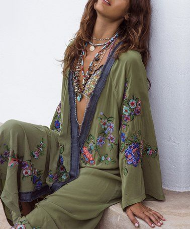 c6fb77f307 LAKLOOK | Olive & Navy Floral Long Kimono - Women in 2019 | Check it ...