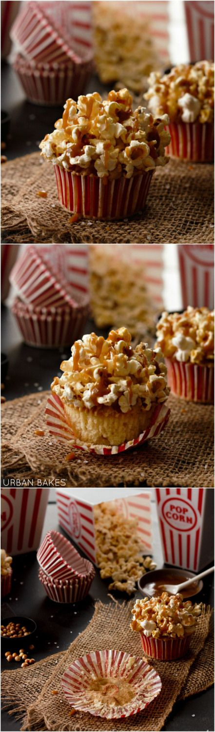 Perfect for movie night - Brown Butter Salted Caramel Popcorn Cupcakes Recipe | urbanbakes.com...x