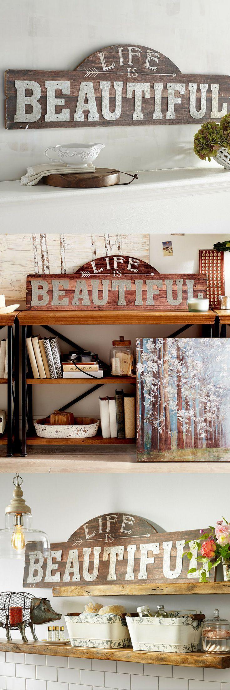 Life is Beautiful Wall Decor, farmhouse decor, wall art, farmhouse wall art, pecan wood art sign, wooden quote art, Life is Beautiful quote #affiliate #ad