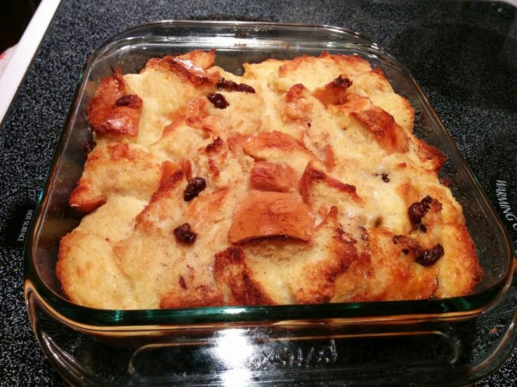 Bread pudding, with drizzle maple syrup on top!