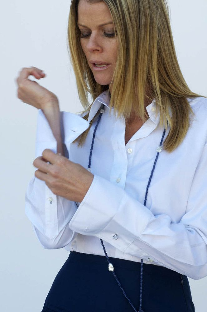 White Blouse With 3 Buttons On The Cuff 14