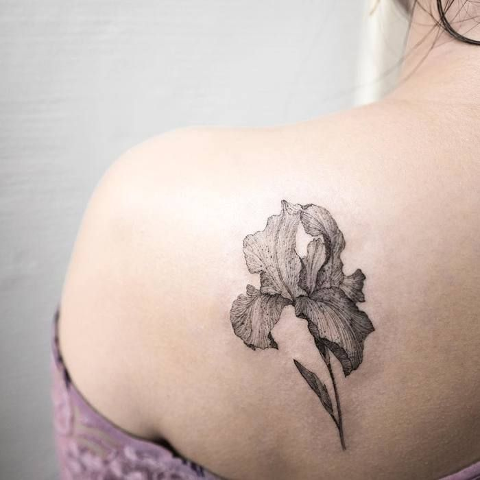 Delicate Iris Flower Tattoo by ilwolhongdam